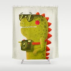 Perfect for roan's monster theme bathroom.  Dino+touristo+(olive)+Shower+Curtain+by+Lime+-+$68.00