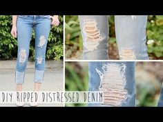 ▶ Salvage Your Jeans | DIY Ripped Distressed Denim - YouTube