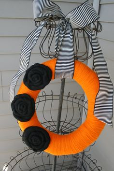 Halloween Fall Yarn Wreath/Burlap Flowers/Black by LizzyDesigns, $35.00