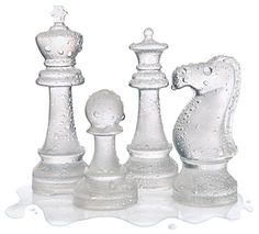 Silicone chesspiece ice molds - what a fun ice cube for cocktails idea.  ThinkGeek :: Ice Speed Chess Set