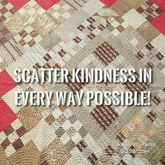 Spreading kindness is like scattering glitter! Toss it every which way you can!  And the best part, you can't help but getting some on yourself at the same time. ❤ vintage medallion quilt found in North Carolina. . . #quilt #quilting #patchwork #quiltville #bonniekhunter #vintagequilt #antiquequilt #deepthoughts #wisewords #wordsofwisdom #quiltvillequote #quote #inspiration #scrapquilt #kindness