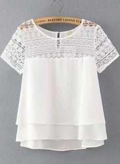 White Lace Short Sleeve Loose Chiffon Blouse 17.67 - floral blouse short sleeve, blouse sale, womens navy blue blouse *sponsored https://www.pinterest.com/blouses_blouse/ https://www.pinterest.com/explore/blouses/ https://www.pinterest.com/blouses_blouse/womens-blouses/ http://www.target.com/c/shirts-blouses-tops-women-s-clothing/-/N-4y2xt