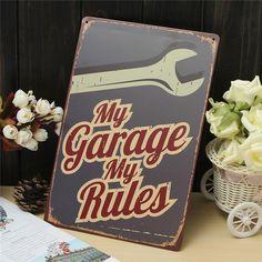 Мой гараж мои правила старинные олова знак таверна потертый шик бар паб дома кафе декор стены ретро арт mail доска декор купить на AliExpress