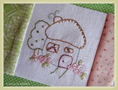 "Another cutie house block from my ""Shabby Roses Home"" BOM. The quilt has 10 little house stitcheries."