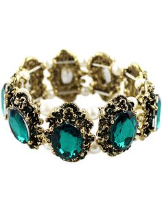 Green Gemstone Retro Gold Bracelet US$7.93