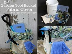 How To Make A Garden Tool Bucket Fabric Cover Project Best Garden Tools, Garden Tool Shed, Garden Tool Storage, Concrete Garden Ornaments, Shed With Porch, Articles Vintage, Storage Buckets, Home Vegetable Garden, Concrete Projects