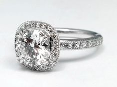 Halo Diamond Engagement Ring in 14k White Gold