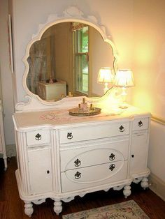 """Cherish the Mirror.  Vintage dresser in classic shabby chic white has the original detailed mirror.  Another painted dresser PIN on Rescued Relics """"Say YES to the Dresser"""" board. #shabbychicdressersvintage #shabbychicdresserswithmirror"""