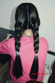 Stunning 36 Pretty Twintail Hairstyle Ideas For Cute Women To Have Cut My Hair, Long Hair Cuts, Long Hair Styles, Indian Hairstyles, Braided Hairstyles, Braids For Long Hair, Twin Braids, Roll Hairstyle, Hairstyle Ideas