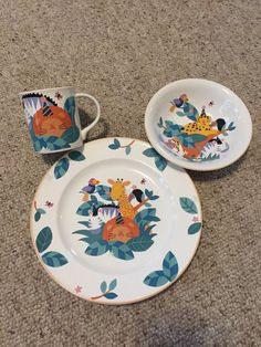 Mikasa China Jungle Friends Child's Place Setting 3 Pieces Plate Bowl Cup MINT!  | eBay