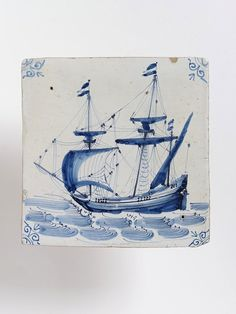 1650-1700 Wall tile with painted decoration depicting a ship. Ox-head corners. Blue outlined in manganese. V C.569:2-1923