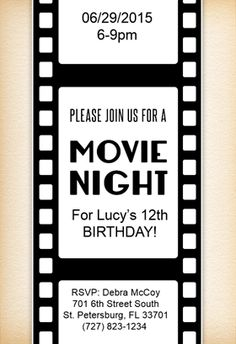 Movie night party invitation template geccetackletarts movie night party invitation template stopboris Image collections