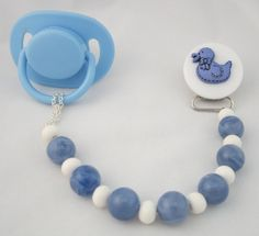 Blue Duck Pacifier clip with wooden Beads CDB by mycrystaldream