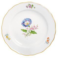 """Plate, Shape """"Neuer Ausschnitt"""", Vintage Flowerpainting 2, Bandwinde, gold rim, ø 20 cm"""