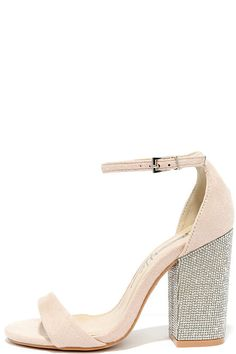 Cue the mirror ball and sashay onto the dance floor in the You Can Dance Nude Suede Rhinestone Heels! These vegan suede heels are so much fun with tiny diamond-like rhinestones embellishing a trendy, block heel. Adjustable ankle strap with silver buckle.