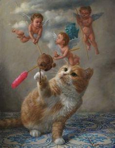 Tokuhiro Kawai (seit japanisch) - The great cat - Cats Aesthetic Art, Cat Love, Crazy Cats, Cool Cats, Asian Art, Cat Art, Art Drawings, Street Art, Cute Animals