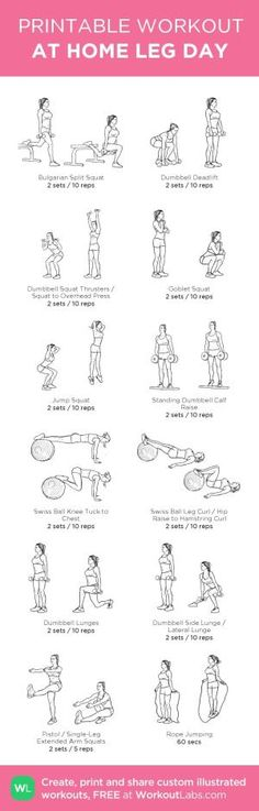 At-home leg day workout. Build custom workout routines or browse pre-made workouts #workouts by jeannine