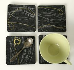 Felt Coasters in Charcoal Merino Wool with by fuzzylogicfelt, $21.00