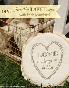 """IRON-ON TRANSFER SIGN WITH FREE """"LOVE"""" TEMPLATE #diy #bridalshower #shabbychic"""