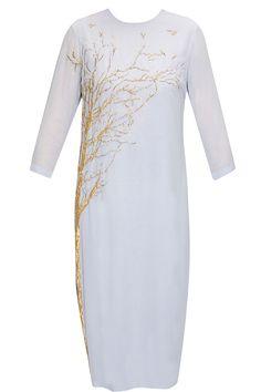 Powder blue opaque tree tunic by Huemn. Shop now: http://www.perniaspopupshop.com/designers/huemn #tunic #huemn #shopnow #perniaspopupshop