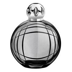 """Résolument graphique, cette lampe en verre est habillée d'un laquage noir fumé translucide.Son décor noir (chromos) au design géométrique, donnant une impression de """"trompe l'oeil"""", est réalisé par le designer Jean-Baptiste Sibertin-Blanc."""