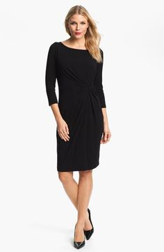 Karen Kane Scoop Neck Dress A gathered twist at the front waist sculpts the shapely silhouette of a stretchy sheath fashioned with a wide, scooped neckline and three-quarter sleeves.