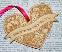 Floral personalised wooden heart decoration £10.00 by Gabrielle Reith
