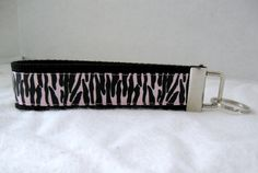 Zebra Keychain Pearl Pink Key Chain Wristlet Key by CreativeJenV (Accessories, Keychain, Wristlet, keychain, key fob, wristlet keychain, handmade, fabric key fob, fabric keychain, keychain fob, creativejenv, zebra keychain, zebra key fob, zebra key chain, animal print fob, pink zebra key fob)