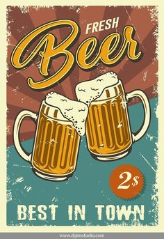 Vintage design poster with beer mugs. Illustration , Vintage design poster with beer mugs. Images Vintage, Vintage Posters, Unique Vintage, Retro Graphic Design, Vintage Logo Design, Vintage Designs, Beer Logo Design, Retro Logos, Vintage Ads