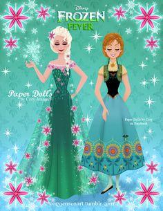Frozen Fever Elsa and Anna paper dolls Frozen Disney, Disney Diy, Anna Y Elsa, Frozen Elsa And Anna, Frozen Paper Dolls, Halloween Dress Up Ideas, Blue Sparkly Dress, Festa Frozen Fever, Frozen Fan Art