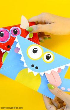 Cute Printable Monster Envelopes Halloween Craft Idea for Kids
