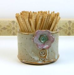 Stoneware+toothpick+holder+toothpick+cup+by+flyingpignc+on+Etsy,+$16.00