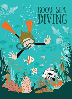 Scuba divers under water. Meer Illustration, Doddle Art, Dolphin Art, Line Art Vector, Surface Art, Creative Artwork, Boy Art, Elephant Game, Underwater Plants