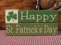Happy St. Patrick's Day painted primitive blocks Shelf Sitter sign