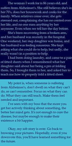 So I've heard a lot of Alzheimer's stories recently, so I thought I'd add mine.. - Imgur