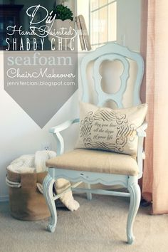 Simply Ciani: Painted Seafoam Chair Makeover...I love this color and use a natural color fabric with Eiffel Tower on it.