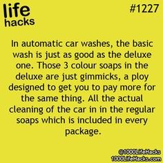 Life Hacks- car washes
