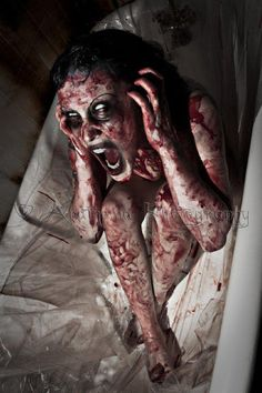 Lots of fake blood and white contacts. For the basement bathroom. This would…