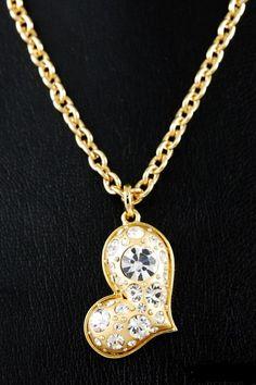Jeweled heart pendant necklace.  $21.00