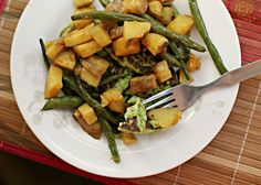Edamame Cakes with Roasted Sweet Potatoes and Green Beans