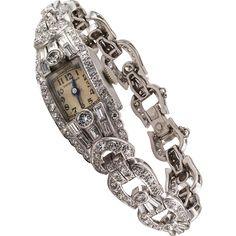 Mid-Century 6.50 Carats Diamond Lady's Hamilton Wristwatch