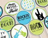 ROCK GUITAR Baby Boy Party Circles & Cupcake Toppers