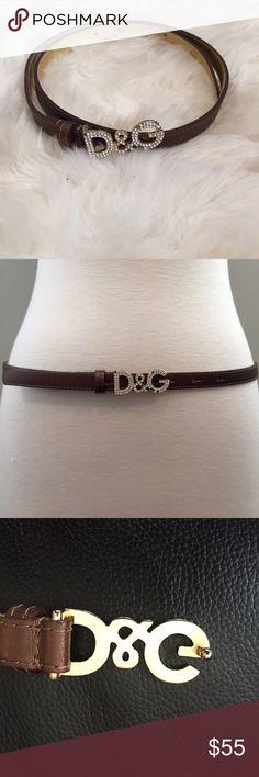 Dolce & Gabanna metallic brown diamanté logo belt Dolce & Gabanna skinny metallic brown diamanté logo belt. Missing stones as photographed D&G Accessories Belts