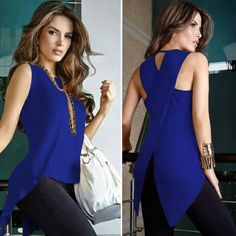 Women Sleeveless Round Neck Slim Fit Irregular Patchwork Blouse Vest Tank Tops solid color shirts | Wish Backless Top, Top Dos Nu, Neck Shirt, Blouses For Women, T Shirts For Women, Pantalon Slim, Womens Sleeveless Tops, Summer Blouses, Hot Outfits