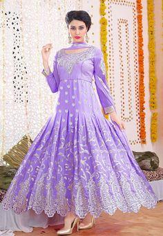 Buy Lavender Faux Georgette Abaya Style Churidar Kameez online, work: Embroidered, color: Lavender, usage: Party, category: Salwar Kameez, fabric: Georgette, price: $61.85, item code: KYX459, gender: women, brand: Utsav