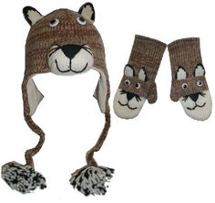Agan Traders Wool Fleece Animal Hat Mitten Set- Mountain Lion One Size « Clothing Adds for your desire