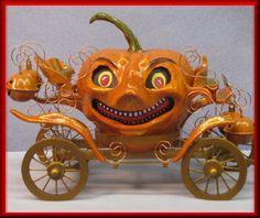Cinderella's Halloween pumpkin Carriage... http://ewwlartgallery.blogspot.com/2012/02/halloween-gourd-jack-o-lantern.html