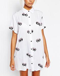 Image 3 ofLazy Oaf Oversized Longline Short Sleeved Shirt In Googly Eye…