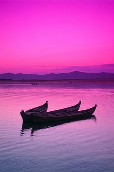 Pink skies -  Irrawaddy River at sunset, Bagan, Myanmar