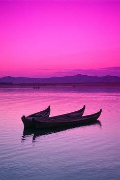 Pink skies -  Irrawaddy River at sunset, Bagan, Myanmar